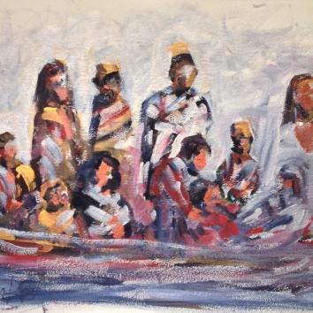Migranti-Acrilico su carta, 80x60 cm